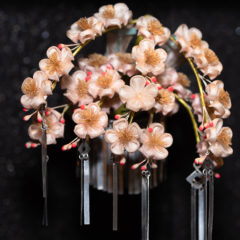 "Historical kanzashi ""Weeping cherry"" work by Kichinosuke Hirota (1927-1928)"
